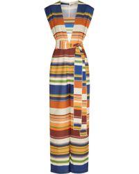 Lenny Niemeyer | - Belted Striped Stretch Jumpsuit - Royal Blue | Lyst