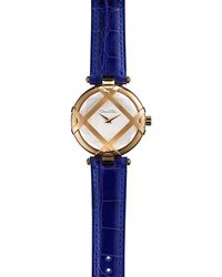 Oscar de la Renta Yellow Golden Watch with Alligator Strap - Lyst