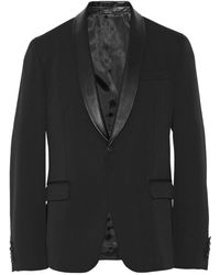 Gucci Slim-fit Leather-trimmed Wool-blend Suit Jacket - Lyst