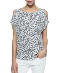 Joie Mehana Leopard-print Top W Cold Shoulders - Lyst