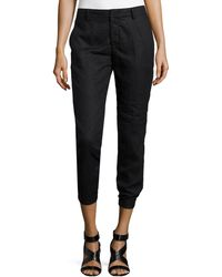 Vince Linen Cropped Trousers - Lyst