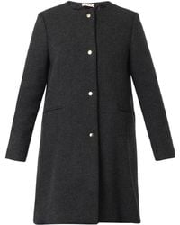 Marni Collarless Charcoal-Grey Wool-Blend Coat - Lyst