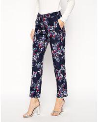 Asos Cigarette Trouser In Blurred Floral Print blue - Lyst