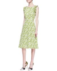 Carolina Herrera Printed Ruffleshoulder Dress - Lyst