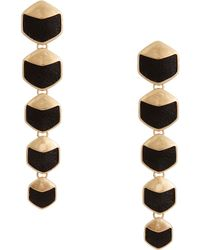Rachel Zoe Black Leather And 12K Gold Plated Geometric Drop Earrings gold - Lyst