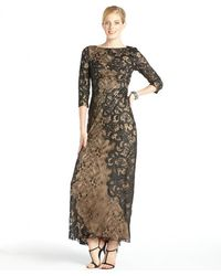 Tadashi Shoji Black and Nude Lace 34 Sleeve Gown - Lyst