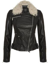 Karen Millen Shearling Collar Leather Biker Jacket - Lyst