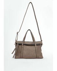 Missguided Sariah Zip Detail Shoulder Bag Stone - Lyst