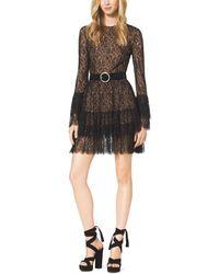 Michael Kors Beaded Chantilly Lace Ruffle Mini Dress - Lyst