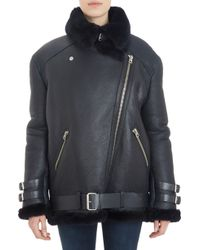 Acne Studios Shearling-Lined Leather Velocite Oversize Moto Jacket - Lyst