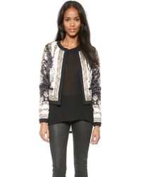 Marchesa Voyage Scarf Quilted Jacket  Black Treasure Scarf - Lyst