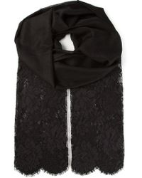 Valentino Black Lace Scarf - Lyst