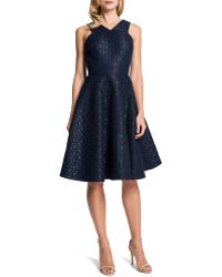 Cynthia Steffe Sleeveless Metallic Hex-jacquard Fit-and-flare Dress - Lyst