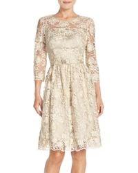 Eliza J | Belted Lace Fit & Flare Dress | Lyst