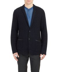 John Varvatos Cable-knit Sweater Jacket - Lyst