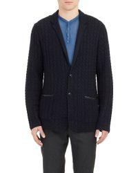 John Varvatos Cable-Knit Sweater Jacket - Lyst