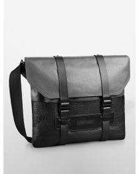 Calvin Klein Jeans Leather + Canvas Messenger Bag black - Lyst