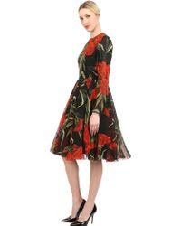 Dolce & Gabbana Floral Printed Silk Chiffon Dress - Lyst
