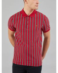 Farah - Altham Stripe Polo In Red - Lyst