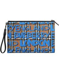 Burberry - Graffiti Print Vintage Check Leather Zip Pouch - Lyst