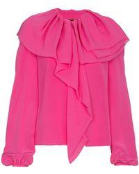 Ronald Van Der Kemp - Ruffle Puff Sleeve Silk Blouse - Lyst