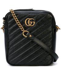 9c5f7a5142e3 Lyst - Gucci Black GG Marmont Velvet Small Shoulder Bag in Black ...