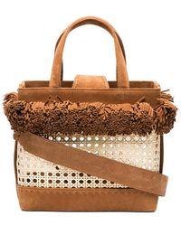 Mehry Mu - Brown Fey Pom Pom Suede Basket Bag - Lyst