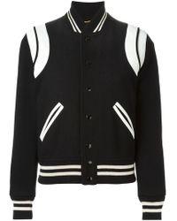 Saint Laurent - Leather Patch Varsity Jacket - Lyst