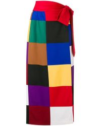 Sara Battaglia - Square Print Straight Skirt - Lyst