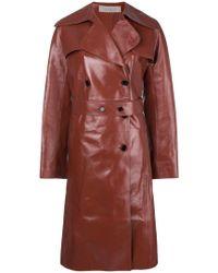 Nina Ricci - Double Breasted Leather Coat - Lyst