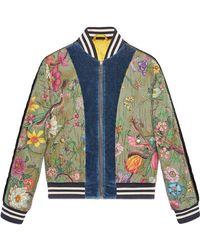 Gucci - Flora Snake Print Silk Bomber Jacket - Lyst