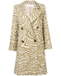 fbe477a3a See By Chloé Marbled-stripe Brushed Coat in White - Lyst
