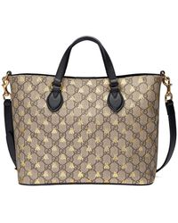 04410af55 Gucci Web Animalier Gg Supreme Tote With Bee in Natural - Lyst
