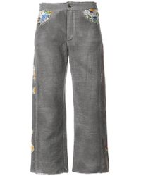 Avant Toi - Cropped Embroidered Trousers - Lyst
