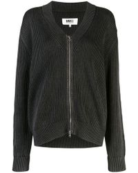 MM6 by Maison Martin Margiela - Ribbed Zip-up Cardigan - Lyst