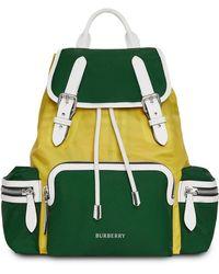 Burberry - Pine Green Colour Block Rucksack - Lyst
