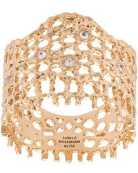 Aurelie Bidermann - 18kt Yellow Gold & Diamond Lace Ring - Lyst