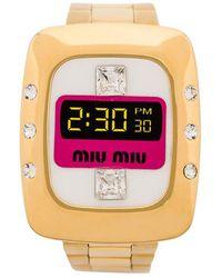 ef25e33c8cac Miu Miu - Watch With Crystals - Lyst