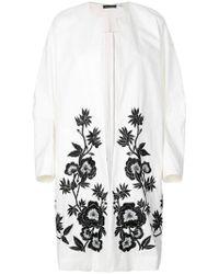 Josie Natori - Embroidered Midi Jacket - Lyst