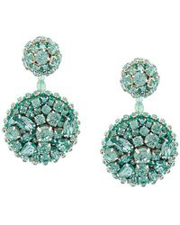 Oscar de la Renta - Crystal Disk Earrings - Lyst