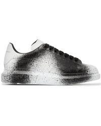Alexander McQueen - Black And White Sprayed Tint Print Leather Sneakers - Lyst