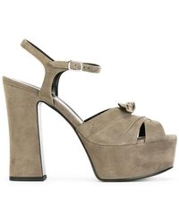 55ba848a84f Lyst - Saint Laurent Candy 80 Bow Leather Platform Sandal in Brown