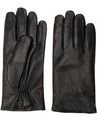 Emporio Armani - Lederhandschuhe mit eingeprägtem Logo - Lyst