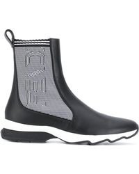 Fendi - Ribbed Two-tone Boots - Lyst