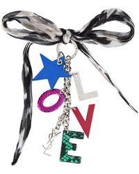 Saint Laurent - Silk And Logo Key Ring - Lyst