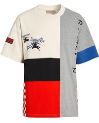 Burberry - Archive Logo Panelled Cotton T-shirt - Lyst