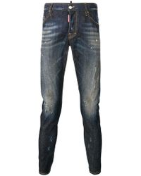 DSquared² - Schmale Jeans im Used-Look - Lyst