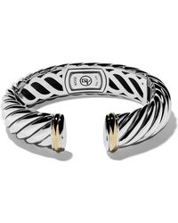 David Yurman - 18kt Yellow Gold Accented Sterling Silver Sculpted Cable Cuff Bracelet - Lyst