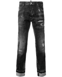 DSquared² - Distressed Logo Stripe Jeans - Lyst