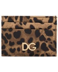 ce42bf5c09df Dolce & Gabbana - Brown Leopard Print Leather Cardholder - Lyst